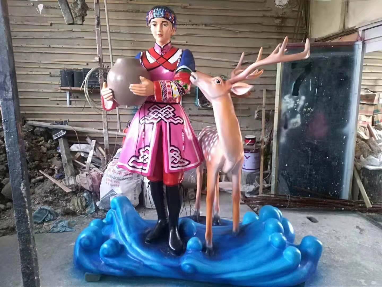 达斡尔族主题雕塑定制4